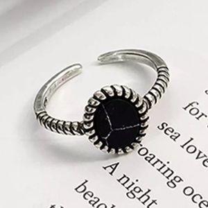 5/$25 Black Marble Stone Adjustable Antique Ring